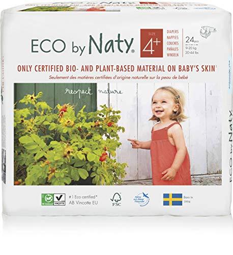 Eco by Naty, Taglia 4+, 144 pannolini, 9-20kg, fornitura di UN MESE, Pannolino ecologico premium a base vegetale con lo 0% di plastica a base di petrolio sulla pelle.