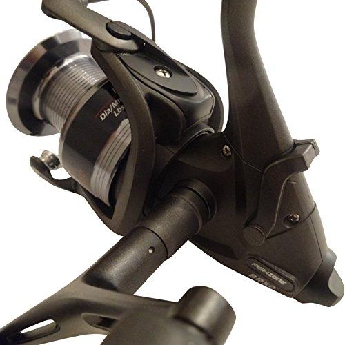 FISHZONE alta qualità (RACE BR50 FREESPOOL 7 cuscinetti a sfere, a doppio manico-Mulinello fisso, per pesca alla carpa, [metodo on-viene fornito con una bobina di ricambio
