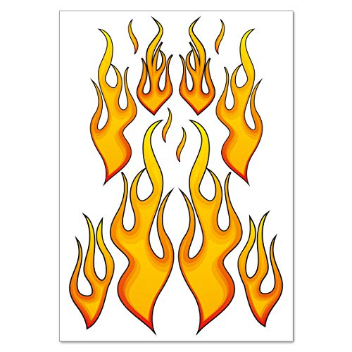 "Pegatinas moto 'Racing ""Fire Flames Fuego Llamas Pegatinas set–12Pegatina en DIN A4arco"