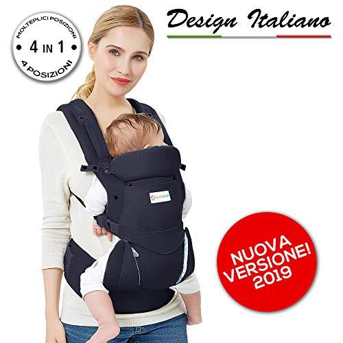 MOMIBABY Marsupio Neonato Ergonomico PRODOTTO CERTIFICATO Porta Bebè 4in1: Fronte Strada/Fronte...