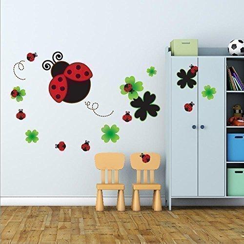 Walplus Adesivo da Parete, Motivo Lavagna a Forma di Coccinella, PVC, Colori Misti, 195 x 105 cm