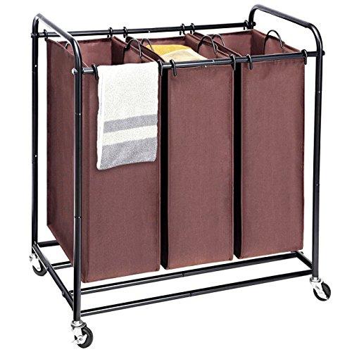Amazon Marke: Umi. Essentials Wäschesortierer mit 3 abnehmbaren Taschen, Wäschekorb Wäschewagen mit 4 Rädern, Wäschesortierer mit 3 x 45 Liter- Braun