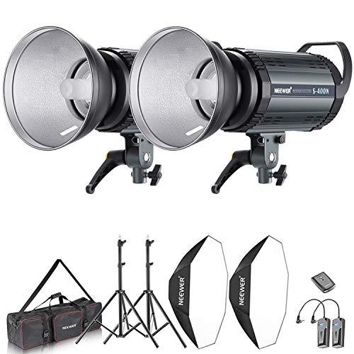 Neewer Kit d'Illuminazione 800W Strobo Flash & Softbox: (2) 400W Flash Monoluce (S-400N)...