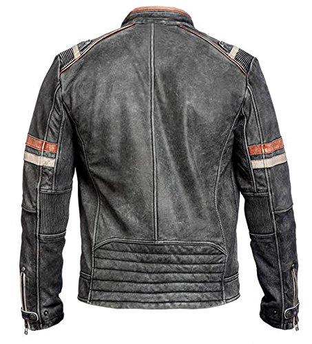 Herren Vintage Motorrad Cafe Racer Retro Moto Distressed Lederjacke (XL) 2