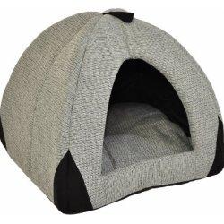 katzeninfo24.de Hundehöhle / Katzenhöhle Woody – 45 cm – grau / schwarz mit weichem, herausnehmbaren Schlafkissen