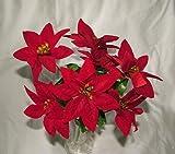 3x Artificial flor de terciopelo rojo Pascua Bush-7cabezas cada-Navidad por a1-homes