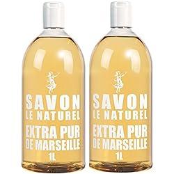 Savon le Naturel, Sapone di Marsiglia liquido extra puro, set di 2 ricariche da 1 litro