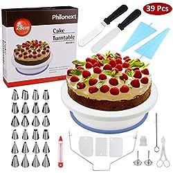Piatto rotante per torta, Forniture per dolci tutto in uno con spatola, supporto girevole per torta, 24 punte in acciaio inossidabile, 2 spatole per glassare, 3 raschietti per dolci più lisci