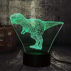 Dtcrzjxh Nuevo Enfriar Tyrannosaurus Rex Jurassic World Dinosaur Animal 3D Led Lámpara De EscritorioLuz De Noche Usb HomeKids Regalo De Navidad