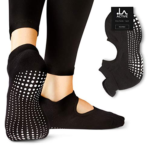 LA Active Calze Presa Antiscivolo Cotone - Per Yoga Pilates Danza Sbarra - Ballet (Noire Black, 37-40 EU)