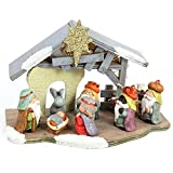 Belén con portal de madera infantil para decoración navideña gris Christmas - Lola Home