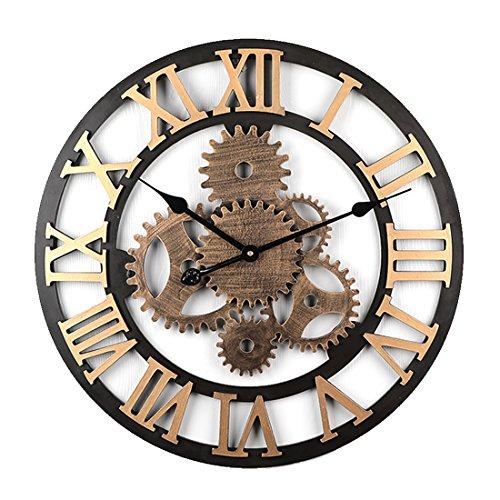 Lommer 58CM Grande Ingranaggio Orologio da Parete Silenzioso Industrial Vintage Numeri Romani Orologio da Muro per Cucina, Ufficio, Soggiorno, Cameretta per Decorativo e Regalo (Dorato 6 Gear)