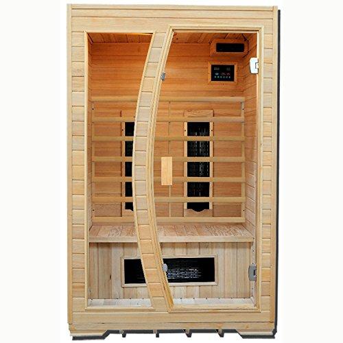 Artsauna Infrarotkabine Schweden 120 mit Keramikstrahler  2 Personen Kabine aus Hemlock Holz   120 x 100 cm   Infrarotsauna Infrarot Wärmekabine