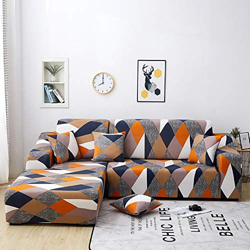 Copridivano con Penisola Elasticizzato Chaise Longue Copridivano Angolare Antimacchia Sofa Cover componibile in Poliestere a Forma di L 2PCS, Federe Protettive per Divano(Geometria,3 Posti+4 Posti)