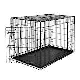 dibea DC00495, Cage de transport pour chiens et petits animaux, boîte solide en fil métallique robuste, pliable, 2 Portes, avec Bac inférieur , Taille 3XL
