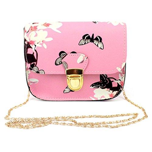 Bolso de Mensajero de las Mujeres, Bolso de Hombro del Bolso de la Impresión de la Flor De Mariposa por Morwind (Rosa)
