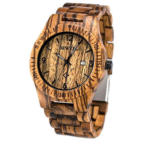 Bewell orologio in legno con scatola gifted orologio al quarzo tondo quadrante analogico con sconto...