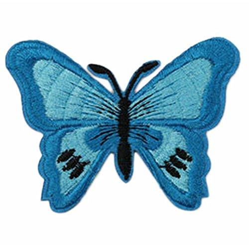 laat dibujos animados ropa parches Niedlich mariposa pegatinas plancha en vestido bufandas Applique Ropa bordado DIY accesorio Sew plástico herramienta costura 7* 5.2cm, azul, 7 * 5.2 cm