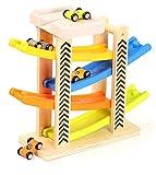 Toys of Wood Oxford Rampa Coches Madera - Rampa de Coches Juguete con estacionamiento en la azotea, rieles de plástico en Zigzag y 4 vagones de Madera - Juguetes de Madera del Coche para los niños