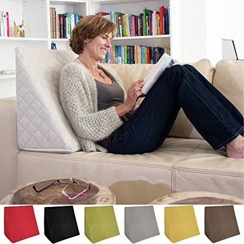 Sabeatex® Rückenkissen, Keilkissen für Couch und Sofa, Lesekissen für bequemes Sitzen. 5 Unifarben für trendiges Wohndesign. Louge-oder Palettenkissen Größe 60 cm x 50 cm x 30 cm (Beige / Natur )