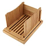 Rebanadora de Pan de Bambú Plegable con Bandeja de...