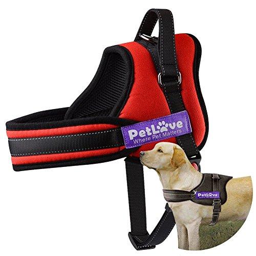 Arnés para Perros, Petlove Correa Suave Acolchado No Hay Arneses de Tirón Con Todo Tipo de Tamaño - XL , Rojo