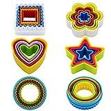 KAISHAN Juego de 25 cortadores de galletas de plástico con formas (estrella, flor, círculo, cuadrado, corazón), sin BPA, de varios colores