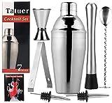 Shaker per Cocktail, Tatuer Set Agitatore per Cocktail,Set da Cocktail professionale in Acciaio 550ML con Pinze per Ghiaccio, Dispenser, Gelatiera, Cucchiaio Contorto, 2 Versatori, Attrezzo da Bar