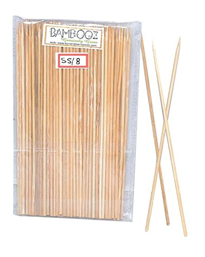 Bamboooz Bamboo Skewer Stick, Multicolour (8 Inches) - Pack of 100