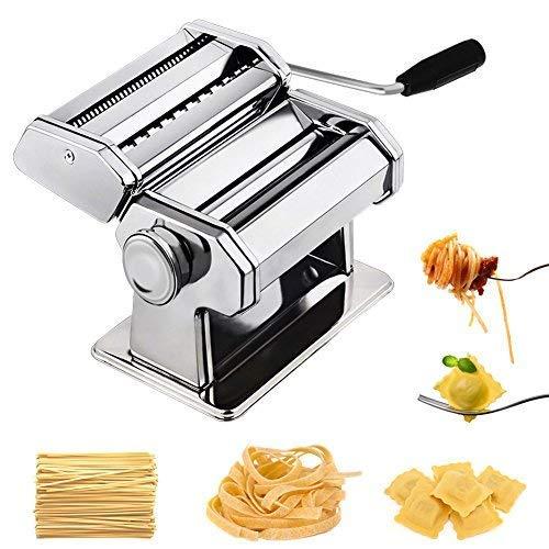chefly Pasta Ravioli Maker Set All in One 9Dicke Einstellungen für selbstgemachte Fettuccine Spaghetti Lasagne Teig Roller Press Cutter Nudeln machen Maschine P1802