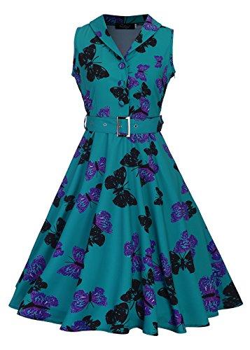 Mujeres 50s sin mangas cuello en V Rockabilly Vintage té vestido con cinturón desmontable 2XL mariposa-verde