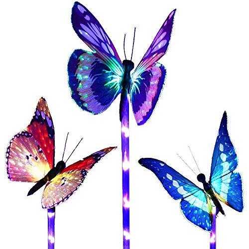 Luci solari da giardino a forma di farfalla che cambiano colore, a energia solare, confezione da 3...