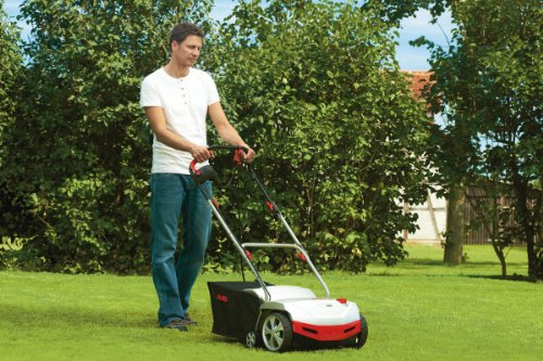 We have already dealt with the AL-KO 38P which uses petrol and now we are looking at the AL-KO Combi-Care 38 E 1300w Electric Scarifier. They are basically the same unit, the major difference is just the power source they use. The AL-KO Combi-Care 38 E also caters to three functions which are scarifying, raking and collection. It clears all the moss and thatch that prevents air and nutrients from getting to the grassroots.