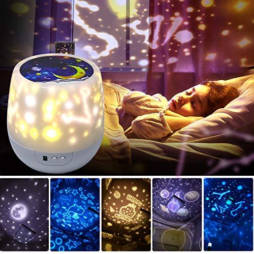 Lampada Proiettore Stelle,Luci Luna notturne per bambini con 360 Rotating Night, 6 Combinazioni...
