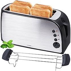 TZS First Austria - gebürsteter Edelstahl 4 Scheiben Toaster 1500W mit Krümelschublade Sandwich Langschlitz | abnehmbarer Brötchenaufsatz | wärmeisoliertes Gehäuse, stufenlose Temperatureinstellung