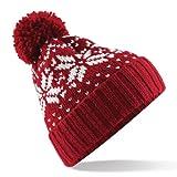 Beechfield Unisex Fair Isle Snowstar Winter Beanie Hat (One Size) (Classic Red / White)