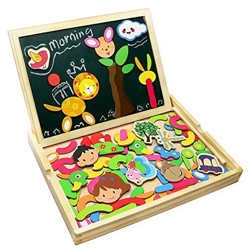 Puzzle Magnetico Legno Lavagna Magnetica Doppio Lato Puzzle di Legno Giochi Educativi per Bambini 3...