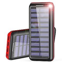 Kaufen Powerbank AKEEM 24000mAh Verbessert Externer Akku, Solar Ladegerät mit 3 USB Ausgängen (Lightning & Micro) Tragbare Power Bank für das iPhone, iPad, Samsung Galaxy und andere Smartphones/Handys(Rot)