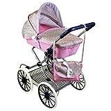Cambridge Style Dolls Vintage Pram Stroller Storage Basket Carry Bag Girls Buggy (Pink)