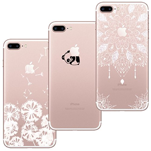 [3 Stück] iPhone 7 Plus Hülle, iPhone 8 Plus Hülle, Blossom01 Cute Funny Kreative Cartoon Transparent Silikon Bumper für iPhone 7 Plus / 8 Plus - Löwenzahn & Panda & Mandala
