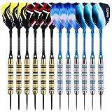 ONE80 Dartpfeile,12 Stück Steel Darts Pfeile Set,20 Gramm (18 Gramm Barrel) Profi Steeldarts mit Metallspitze (12 Stück)
