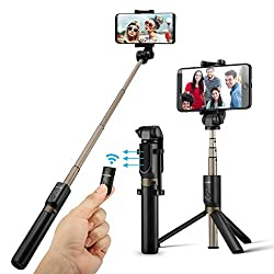 Kaufen Bluetooth Selfie Stick Stativ, BlitzWolf Selfie-Stange Stab mit Bluetooth-Fernauslöse für iPhone X/ 8/ 7/ 7 plus/ 6s/ 6 Android Samsung Galaxy 3.5-6 Zoll Bildschirm- 3 in 1 Erweiterbar Monopod Mini Pocket Wireless Selfie Stick 360° Rotation (schwarz)