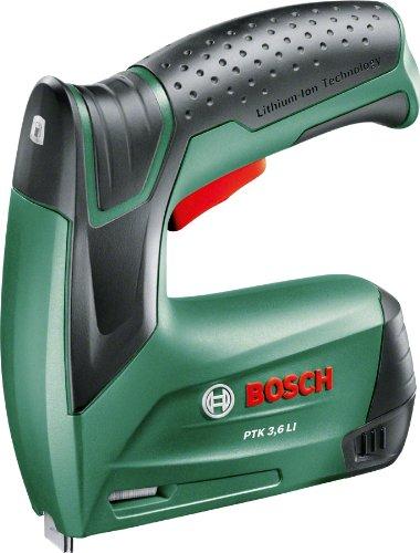 Bosch 0603968100 Agrafeuse sans Fil PTK 3,6 LI avec Boîte en Métal, 1000 Agrafes (Type 53, Longueur 8 mm) et Chargeur