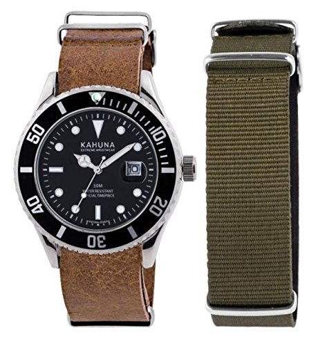Kahuna Men's Quartz Black Dial Analogue Display Interchangeable Brown PU & Olive Green Nylon Strap Watch KUS0110GSTP