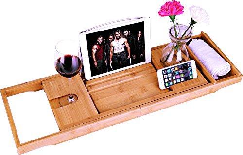 bamboe Badkuip Caddy Bad Tub Tray met Verlengde pagina \'s opgericht in boek tablet-houder mobiele telefoon Tray & geïntegreerde Wijnglas-houder en andere accessoires plaatsing