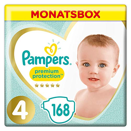 Pampers Premium Protection Size 4, 168 Pannolini, Pampers 'Softest Comfort, consigliati da British Skin Foundation, 9-14 kg