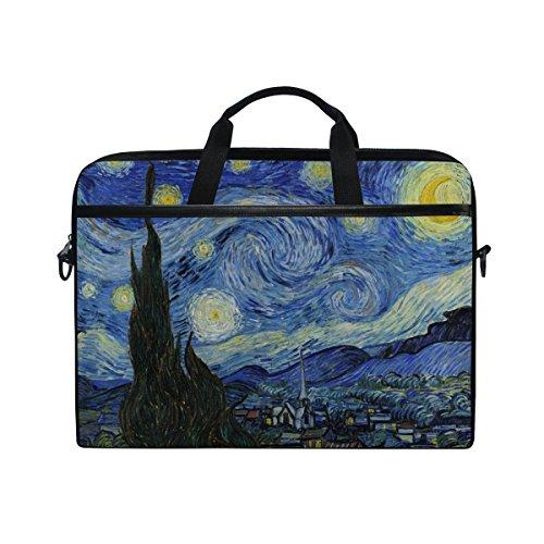 JSTEL Van Gogh Starry Night Sky - Funda Bandolera para Ordenador portátil de 14 a 15,6 Pulgadas con Correa Ajustable para el Hombro