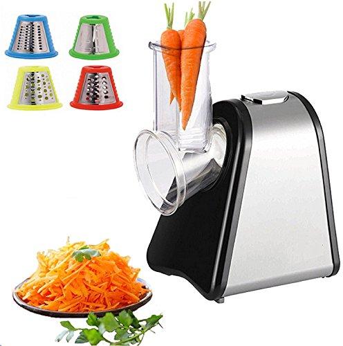 Elektrischer Gemüsehobel | Küchenmaschine | Küchenreibe | Multifunktionsreibe | Gemüse Raspel | 200 Watt | Trommeln aus Edelstahl | 4 Aufsätze |
