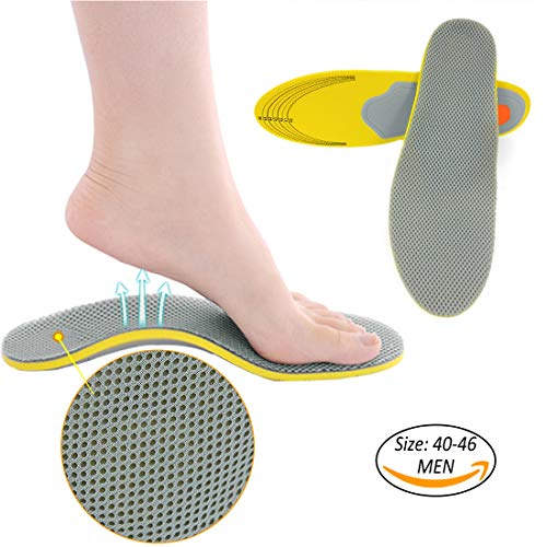 Pindia Arch Support Shoe Pad Insole Orthotic Cushioning For Foot Relaxation & Plantar Fasciitis (1 Pair For Men, Grey Yellow)