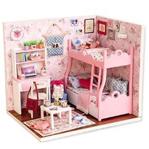 Suzanne Betty casa de muñecas en Miniatura con Muebles, Cubierta Antipolvo, Juguetes de Miniatura de Madera para niños, China, H012